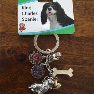 King Charles Spaniel Silver Metal Key Ring